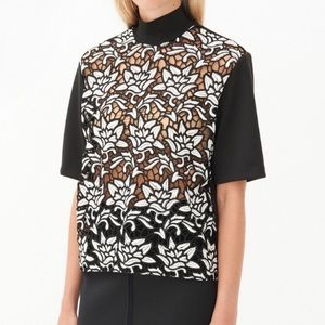 Sandro Paris Lace Embroidered Short Sleeve Top